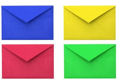 Colored Envelopes On A White Background. Paper Envelopes. Four E