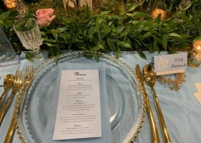 Custom designed wedding table menu